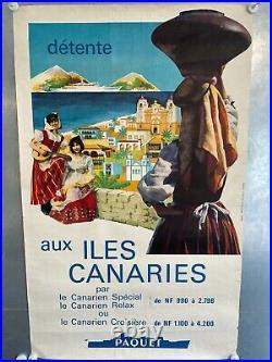 Affiche ancienne Aux Iles Canaries, société PAQUET (62x100 cm)