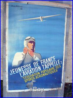 Affiche ancienne Aviation, Jeunesse de France, L'aviation t'appelle (J. Peltier)