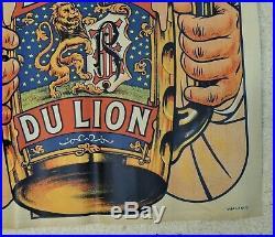 Affiche ancienne Bière du Lion par Ogé / Brasserie Richard Frères à Ivry