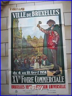 Affiche ancienne Bruxelles foire commerciales 1934