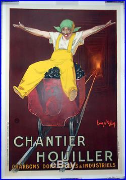 Affiche ancienne CHANTIER HOUILLER Mine Mineur JEAN D'YLEN Entoilée 1924