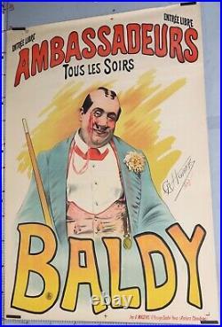 Affiche ancienne CHOUBRAC SPECTACLE BALDY AMBASSADEURS circa 1885 -90