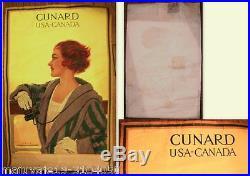 Affiche ancienne CUNARD USA CANADA 1914 compagnie maritime