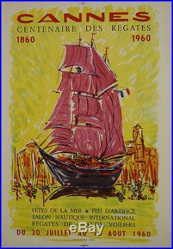 Affiche ancienne Cannes centenaire régates 1960 Bellini marine voilier voile