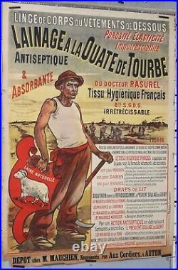 Affiche ancienne DOCTEUR RASUREL LAINAGE A LA OUATE DE TOURBE ANTISPETIQUE c1890