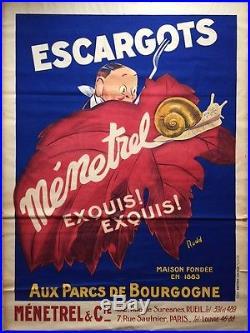 Affiche ancienne ESCARGOTS MENETREL Parcs de Bourgogne RUDD Litho Original 20's
