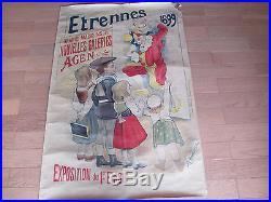 Affiche ancienne Etrennes nouvelles galeries Agen 1899