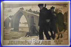 Affiche ancienne JOURNEE SERBE 25 juin 1916 MOURGUE Entoilée WWI Original