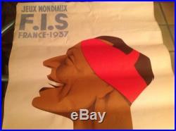 Affiche ancienne Jeux mondiaux F. I. S. France 1937-G. Gorde & Boudry 100cm/61,5cm