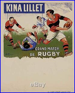 Affiche ancienne. KINA LILLET LILET Grand Match de RUGBY 1927 A. Galland