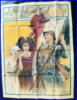 Affiche ancienne L AURORE de Henri Royer, soldat de 1914/18 et une alsacienne