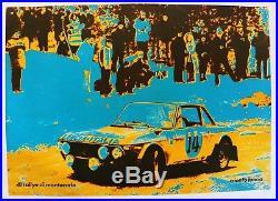 Affiche ancienne LANCIA FULVIA rallye MONTE CARLO MUNARI MANNUCCI 1972 no ZAGATO