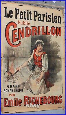 Affiche ancienne LE PETIT PARISIEN PUBLIE CENDRILLON D'EMILE RICHEBOURG ci 1890
