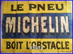 Affiche ancienne Le pneu Michelin boit l'obstacle