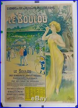 Affiche ancienne Lithographique Thermalisme LE BOULOU c1920 Pyrenees Orientales