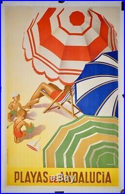 Affiche ancienne Lithographique entoilée ESPAGNE PLAGES d'ANDALOUSIE 1941