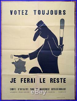 Affiche ancienne MAI 68 GENERAL DE GAULLE Votez toujours je ferai le reste 1968