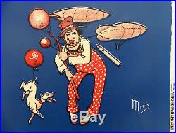 Affiche ancienne MICH Rémouleur et son chien Hutchinson Bandeau Entoilé GAILLAR
