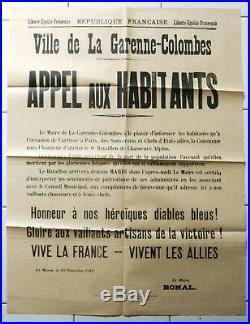 Affiche ancienne MILITARIA Victoire 1918 CHASSEURS-ALPINS DIABLES BLEUS Armée
