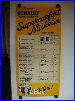 Affiche ancienne Michelin bibendum ancien Renault mona prima viva quatre