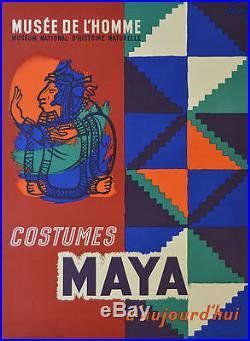 Affiche ancienne Musée de l'homme Costumes MAYA Par FALK 1961