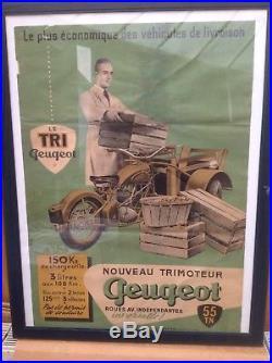 Affiche ancienne Originale Peugeot LE TRIMOTEUR TRI PEUGEOT PUR JUS