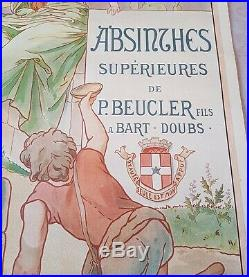 Affiche ancienne Originale absinthe Beucler distillerie de Montbart 1900 signee