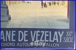 Affiche ancienne P L M VEZELAY 102 x 74 cm