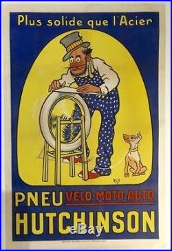 Affiche ancienne PNEU HUTCHINSON Velo Moto Auto 1910 78 x 119 cm