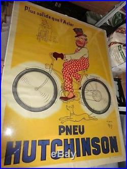 Affiche ancienne Pneu Hutchinson d'apres mich no émaillée garage