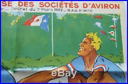 Affiche ancienne SPORT AVIRON Régates Internationales JOE BRIDGE Rowing Poster
