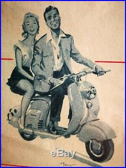 Affiche ancienne Tour de France 1953 LAMBRETTA no Vespa