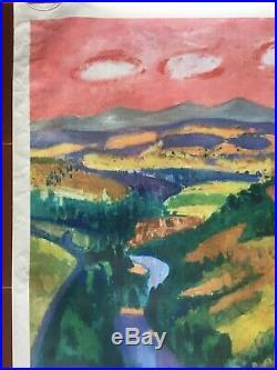 Affiche ancienne Tourisme AUVERGNE par AUJAME Train SNCF 62x100cm 1959