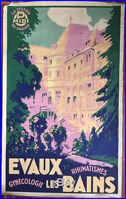 Affiche ancienne Tourisme EVAUX-LES-BAINS Gynécologie Rhumatismes PASSEZ Creuse