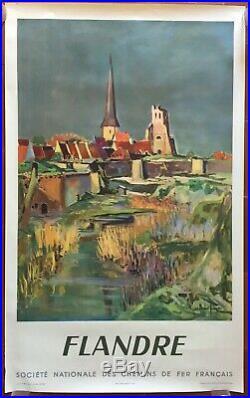 Affiche ancienne Tourisme FLANDRE par ARTHUR FAGES Train SNCF 62x100cm 1953