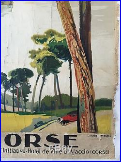 Affiche ancienne Tourisme LA CORSE Ajaccio LUCIEN PERI Original Litho 1932
