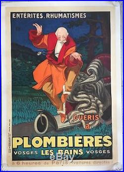 Affiche ancienne Tourisme PLOMBIERES-LES-BAINS Vosges JEAN D'YLEN Entoilée 1931