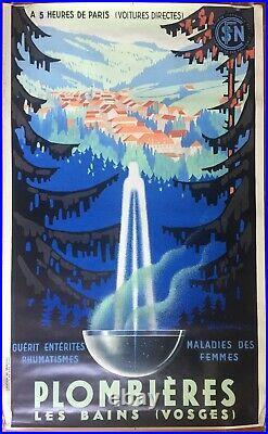 Affiche ancienne Tourisme PLOMBIERES-LES-BAINS Vosges SENECHAL Train SNCF 1939