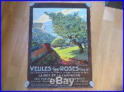 Affiche ancienne Tourisme VEULES Les ROSES par C. MARCHAND 1928