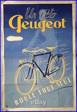 Affiche ancienne UN VELO PEUGEOT roule tout seul Bicyclette Vélo Lourdin 1950