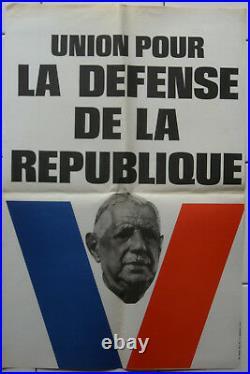 Affiche ancienne UNION POUR LA DEFENSE DE LA REPUBLIQUE UDR De Gaulle Mai 68