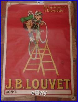 Affiche ancienne Vélo J. B. LOUVET par MICH. 1925. Vintage