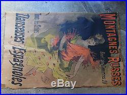 Affiche ancienne Vintage Poster Jules CHERET Montagnes Russes Danseuses Espagnol
