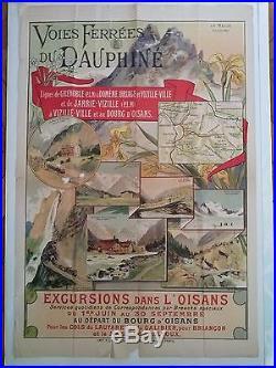 Affiche ancienne Voies Ferrées du Dauphiné illustrée par Louis Tauzin