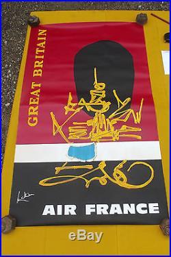Affiche ancienne air france GREAT BRITAINS signé mathieu années 70