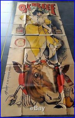 Affiche ancienne belge Oxbeef par Léon Belloguet imp O de Rycker Bruxelles