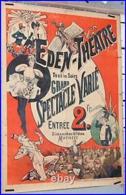 Affiche ancienne ci 1890-1900 EDEN THEATRE SPECTACLE VARIÉ CABARET