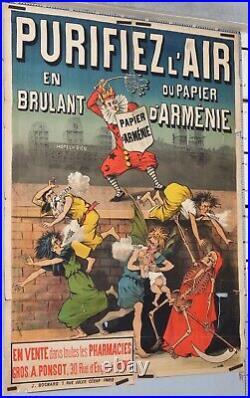 Affiche ancienne circa 1890-1900 VAN GELEYN PURIFIER AIR PAPIER D'ARMENIE