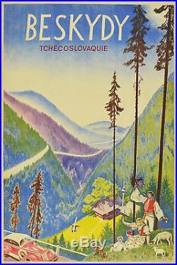 Affiche ancienne entoilée BESKYDY -TCHEQUOSLOVAQUIE