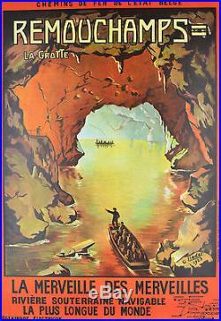 Affiche ancienne entoilée GROTTES DE REMOUCHAMPS 1923